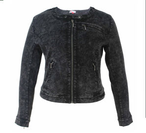 Black Denim Ladies PU Jackets Fitted Short Type With Zippers OEM Service