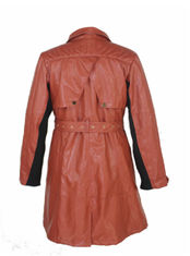 Fashion Low Collar Ladies Pu Jackets With Zipper And Waist Belt Medium Coat Length